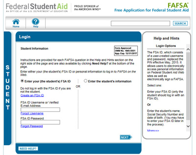 FAFSA site screenshot