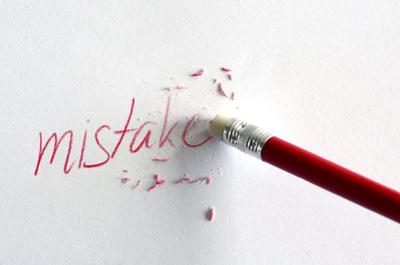 The word mistakes being erased