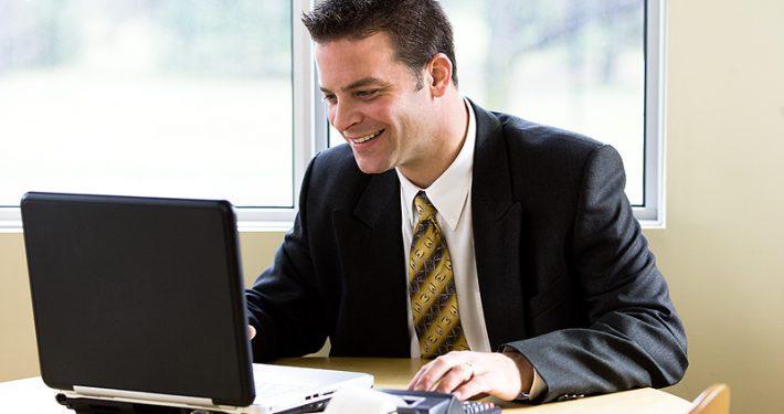 Accountant at laptop